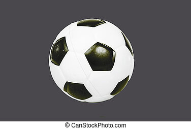 Soccer ball football on grey isolated cutout cut out background. Easy to use..