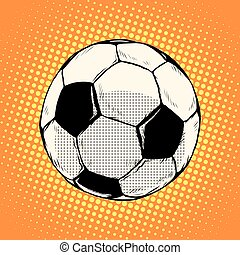 Soccer ball football pop art retro style. Sports equipment