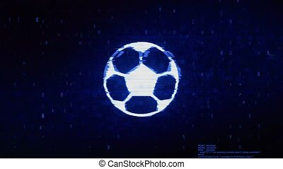 Soccer Ball Football Symbol Digital Pixel Noise Error Animation.