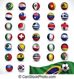 soccer ball (Football) with flag Brazil 2014 , Soccer Tournament