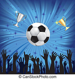 Soccer ball for football sport with fan hands silhouettes