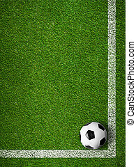 Soccer ball framed by white marking lines top view. Sport background.