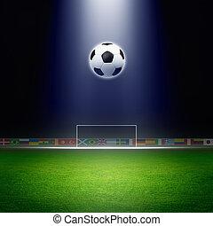 Soccer ball, goal, spotlight - Soccer ball, green soccer...