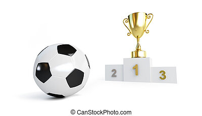 soccer ball, gold cup on the pedestal  on a white background 3D illustration, 3D rendering