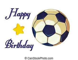 Soccer Ball happy birthday Illustration stock photo -...