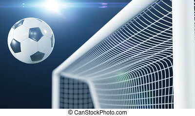 Soccer Ball Hits the Bar and Bounces Back off in Slow Motion. Beautiful Football 3d animation Concept.