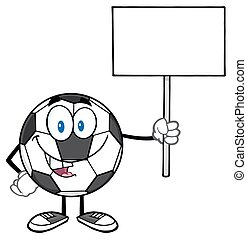 Soccer Ball Holding A Blank Sign