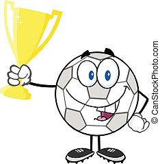 Soccer Ball Holding Trophy Cup