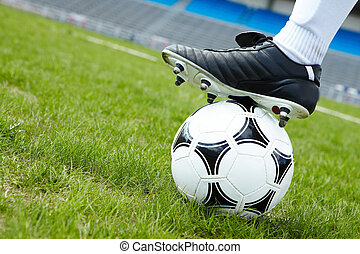 Soccer ball - Horizontal image of soccer ball in green grass...