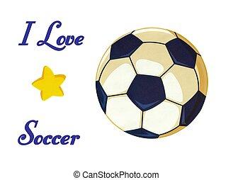 Soccer Ball I love Soccer Illustration Stock photo -...