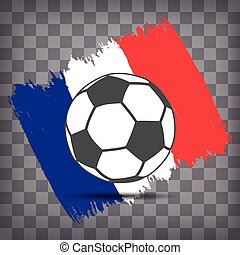 soccer ball icon on French flag background from brush strokes in