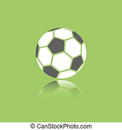 Soccer ball icon with reflection on green background
