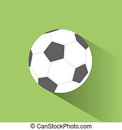 Soccer ball icon with shadow on green background