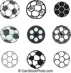 soccer ball icons set