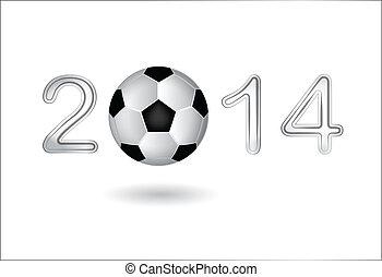 Soccer ball in 2014 digit on white