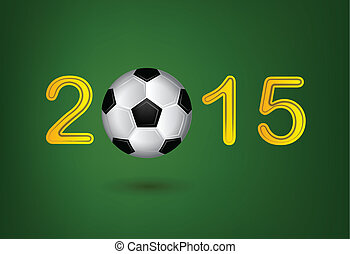Soccer ball in 2015 digit on green background