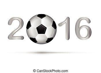 Soccer ball in 2016 digit on white. Vector illustration