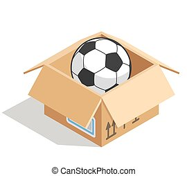 Soccer ball in a box isolated over white