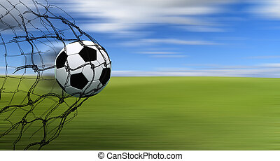 soccer ball in a net with hand drawn sketch on blur...