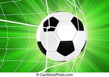Soccer Ball in a Net / Soccer Goal. Euro Football Theme. Green Background with Sun Rays. 3D Render illustration. Sport Illustrations Collection.