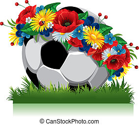 Soccer ball in a wreath of flowers. Illustration for the ...
