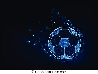 Soccer ball in action made of dots and lines, shiny stars and geometric shapes on dark blue background.