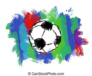 Soccer ball in colorful brushed background