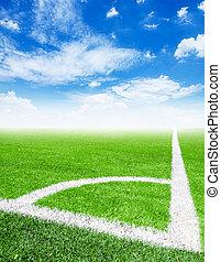 Soccer ball in corner kick position.