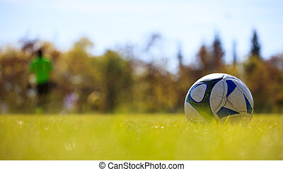 Soccer ball in field on the right side ready to be kicked. Blurred players and nature background.