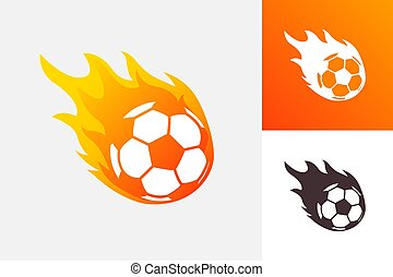 Soccer ball in fire flame. Football fireball cartoon icon. Fast ball logo in motion isolated