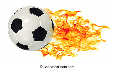 Soccer ball in flames - An image of a leather soccer ball in...