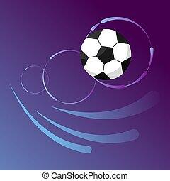 Soccer ball in goal flight on gradient background.