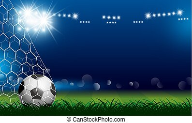 Soccer ball in goal on grass with spotlight vector illustration