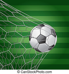 Soccer ball in goal with grass field - vector illustration