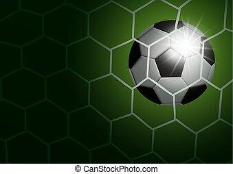 Soccer ball in goal with light vector illustration