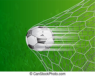 soccer ball in goal with speed line - vector illustration -...
