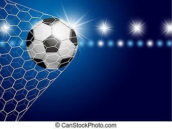 Soccer ball in goal with spotlight vector illustration