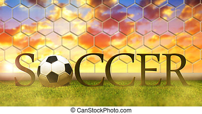 Soccer ball in grass on football stadium.