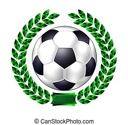 soccer ball in laurel wreath