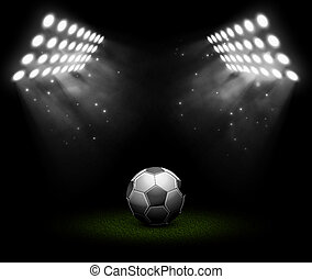 Soccer ball in light of searchlights. Illustration contains...