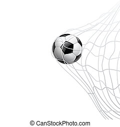 Soccer ball in net. on goal, vector illustration