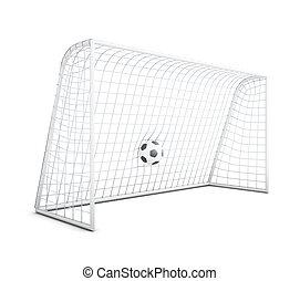 Soccer ball in net isolated on white background. 3d rendering