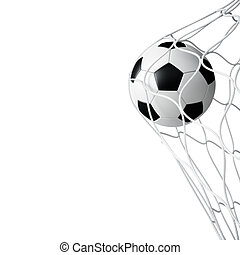 Soccer ball in net isolated - Soccer ball in net on white...