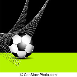 Soccer ball in net - sports flyer