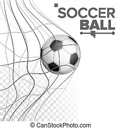 Soccer Ball In Net Vector. Hitting Goal. Sport Poster, Banner, Brochure Design Element. Isolated On Transparent Background Illustration