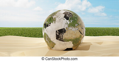 soccer ball in sand desert with world globe design 3d-illustration. elements of this image furnished by NASA