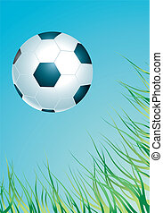 Soccer ball in the air with blue sky and green grass in background