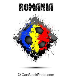 Soccer ball in the color of Romania