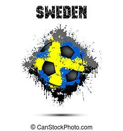 Soccer ball in the color of Sweden