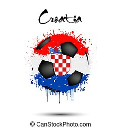 Soccer ball in the colors of the Croatia flag